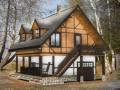 каркасный дом с террасой и гаражем