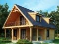 Каркасный дом с террасой и мансардой