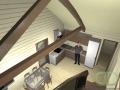Дом с аросной кровлей - вид с лестницы