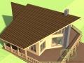 Эскизный проект каркасно-щитового дома вид на террасу 2