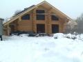 строительство деревянного дома зимой, усадка бревен.